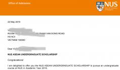 Kết quả học bổng ASEAN bậc đại học năm 2019
